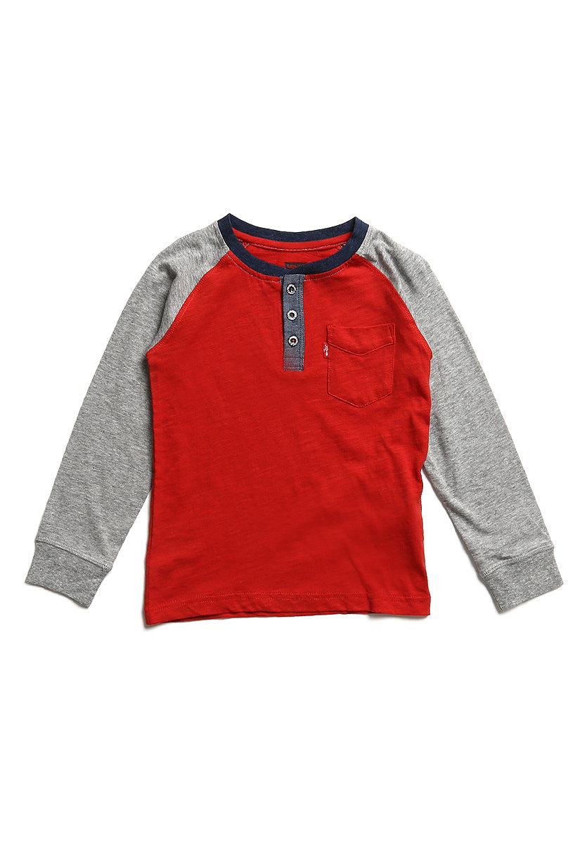 Boys (4-7A) Playera Henley Tilden Pompeian Red
