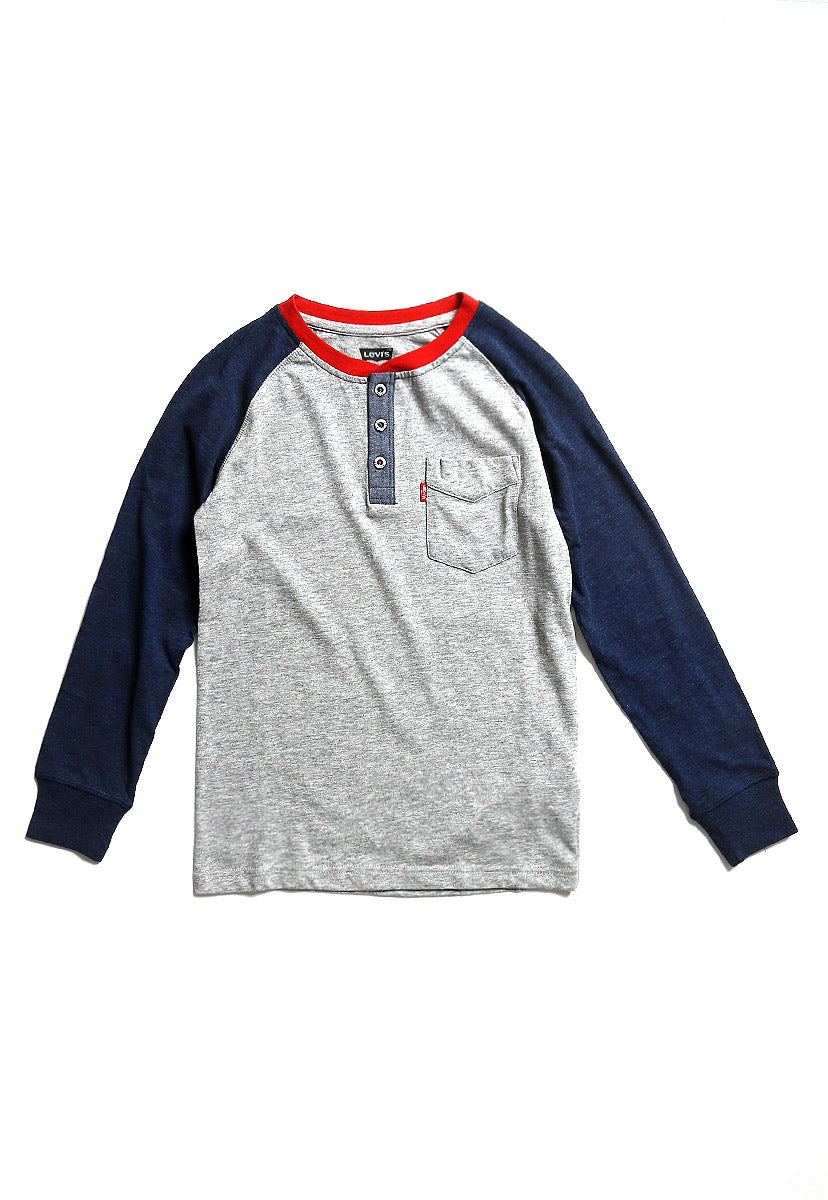 Boys (8-18A) Playera Henley Tilden Grey Heather