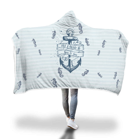 Snuggly Sea Horse Hooded Blanket