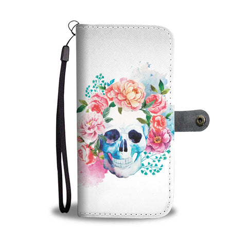 Water color Skull Wallet Case