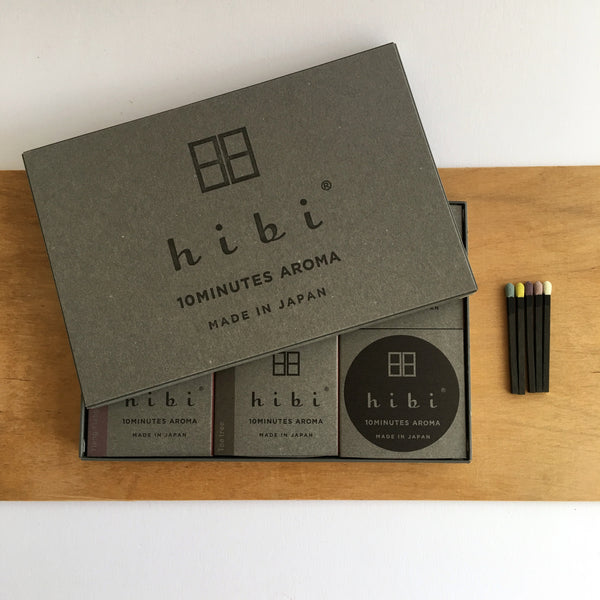 Japanese incense, Awaji incense, Hibi, 10 minute incense, Kobe match, Hibi Australia, Hibi Melbourne, Japanese designer homewares, uki hibi, 10 minute aroma, ukiverse, self lighting incense, match stick incense, Japan to Australia by uki, modern scent gift box