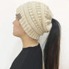 Image of Hand Knit Pony Tail Beanie
