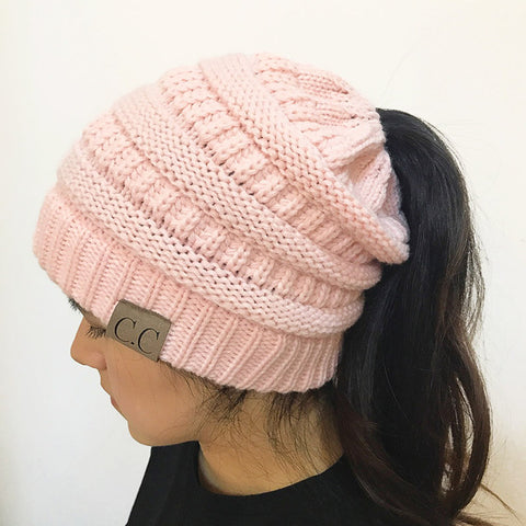 Hand Knit Pony Tail Beanie