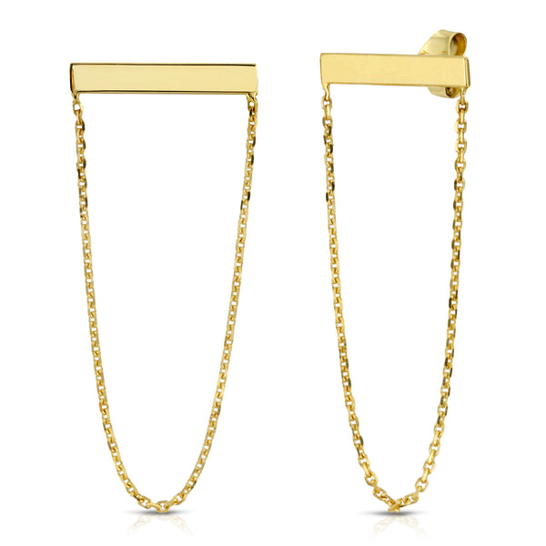 BOLD BAR AND CHAIN STUDS