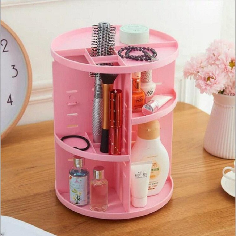 360-degree Rotating Makeup Organizer Box | Jewelry Organizer | Brush Holder