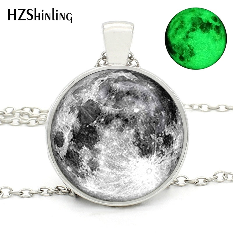 Full Glowing Moon Glass Round Necklace | Pendant Necklace | Moon Pendant Necklace | Necklace | Moon Glass Necklace