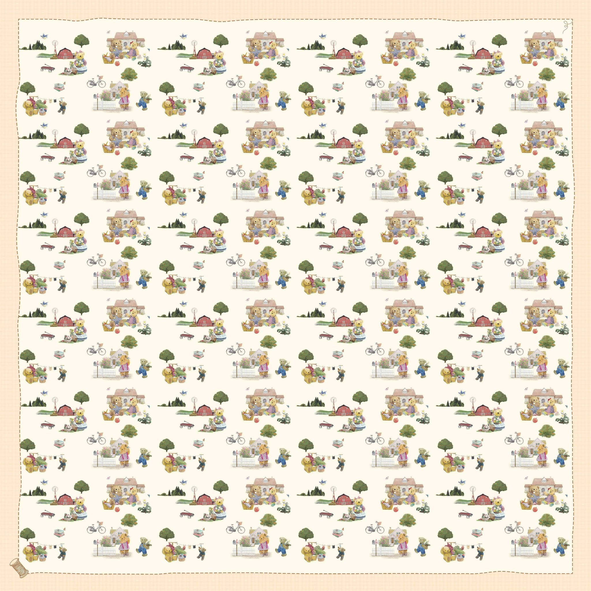 SCARF SCENERY PATTERN TEDDY HOUSE