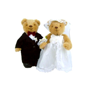 TEDDY HOUSE BONEKA TEDDY BEAR SPC: ROSE BRIDGE n GROOM 10 INCHI