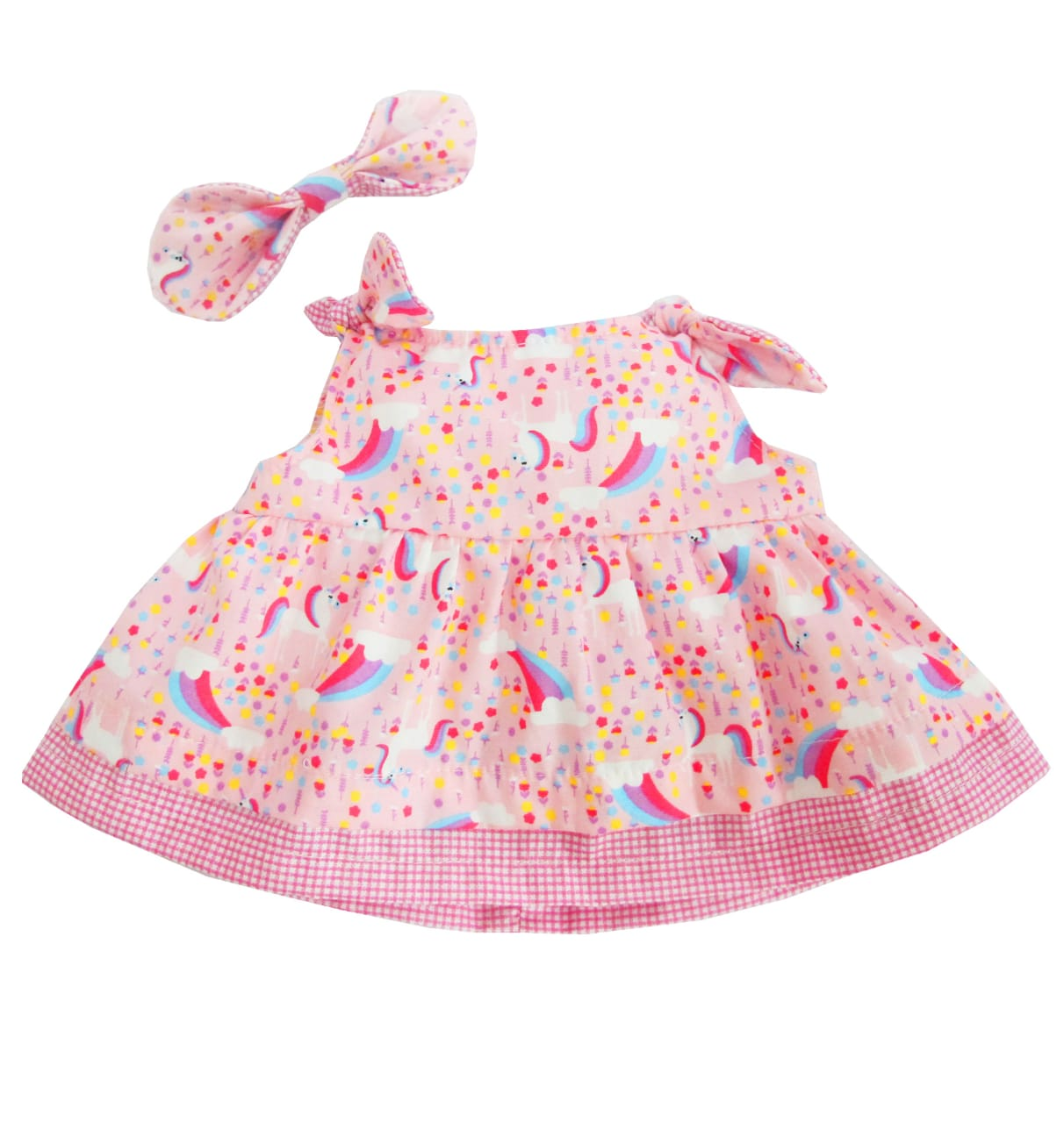 OUTFIT BEAR PRINTED DRESS 10 INCHI