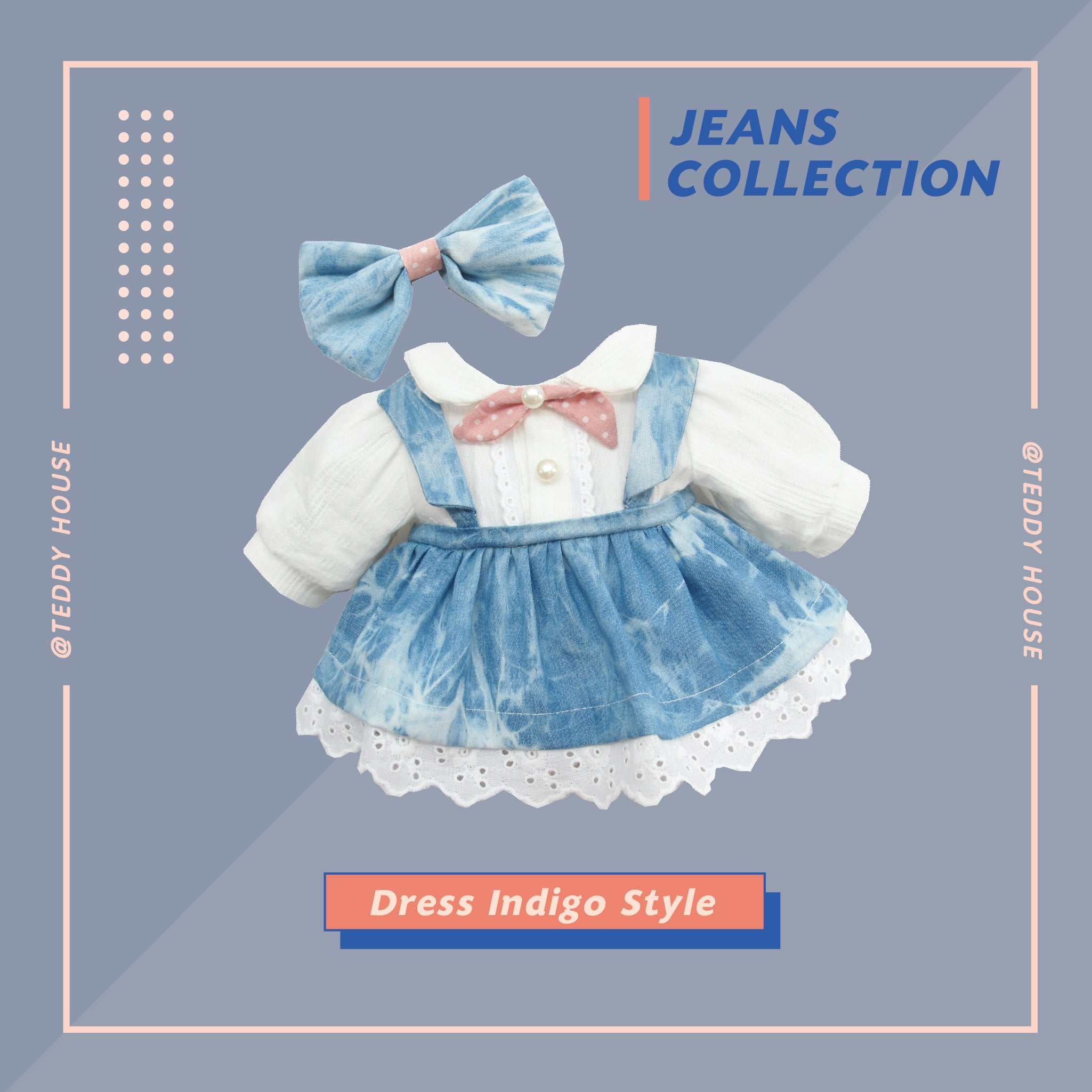 SPECIAL SET ZEIRA WITH DRESS INDIGO STYLE 12 INCHI