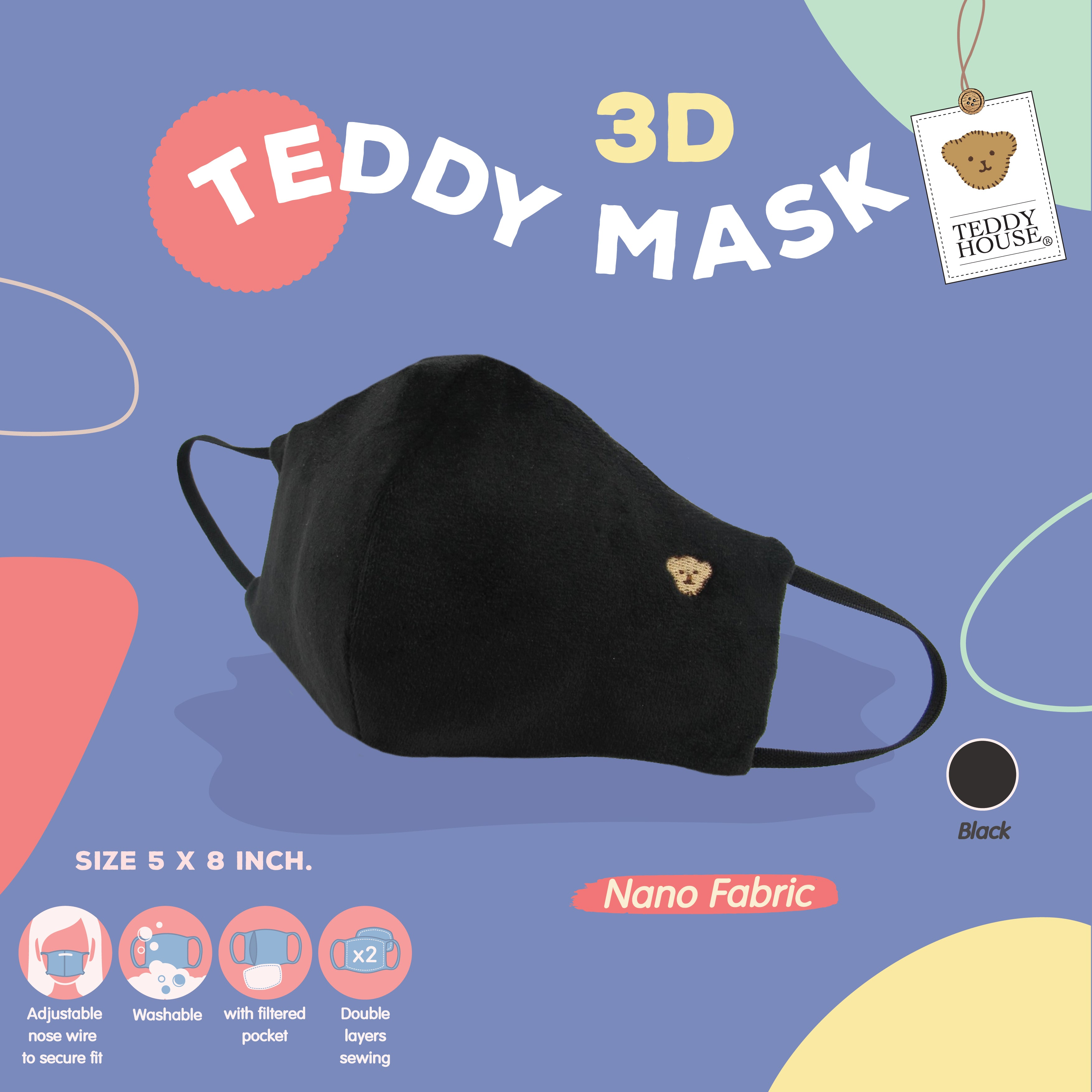 FABRIC MASK - 3D NANO FOR ADULT (BLACK, PINK, CREAM)