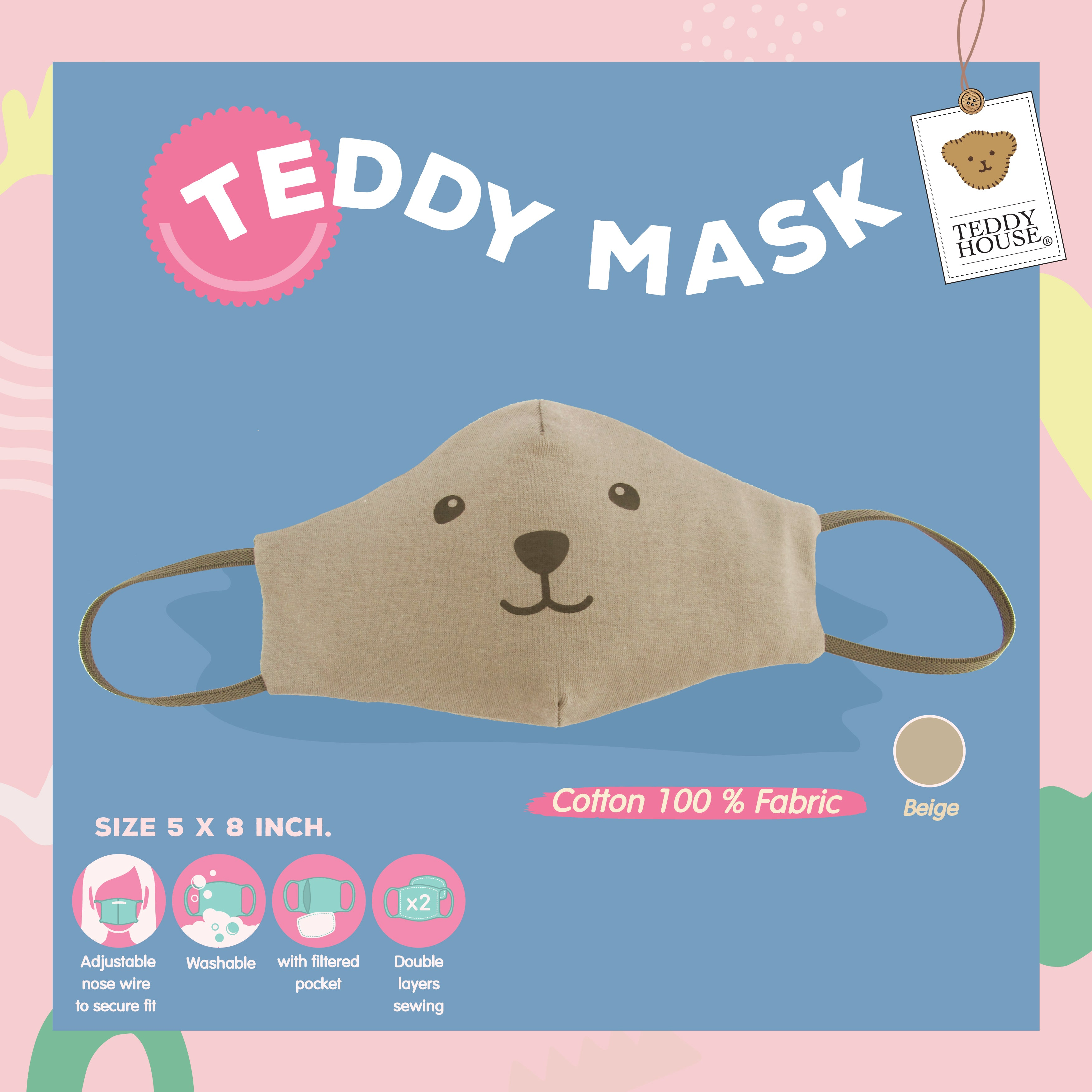 FABRIC MASK - SMILING COTTON FOR ADULT BEIGE