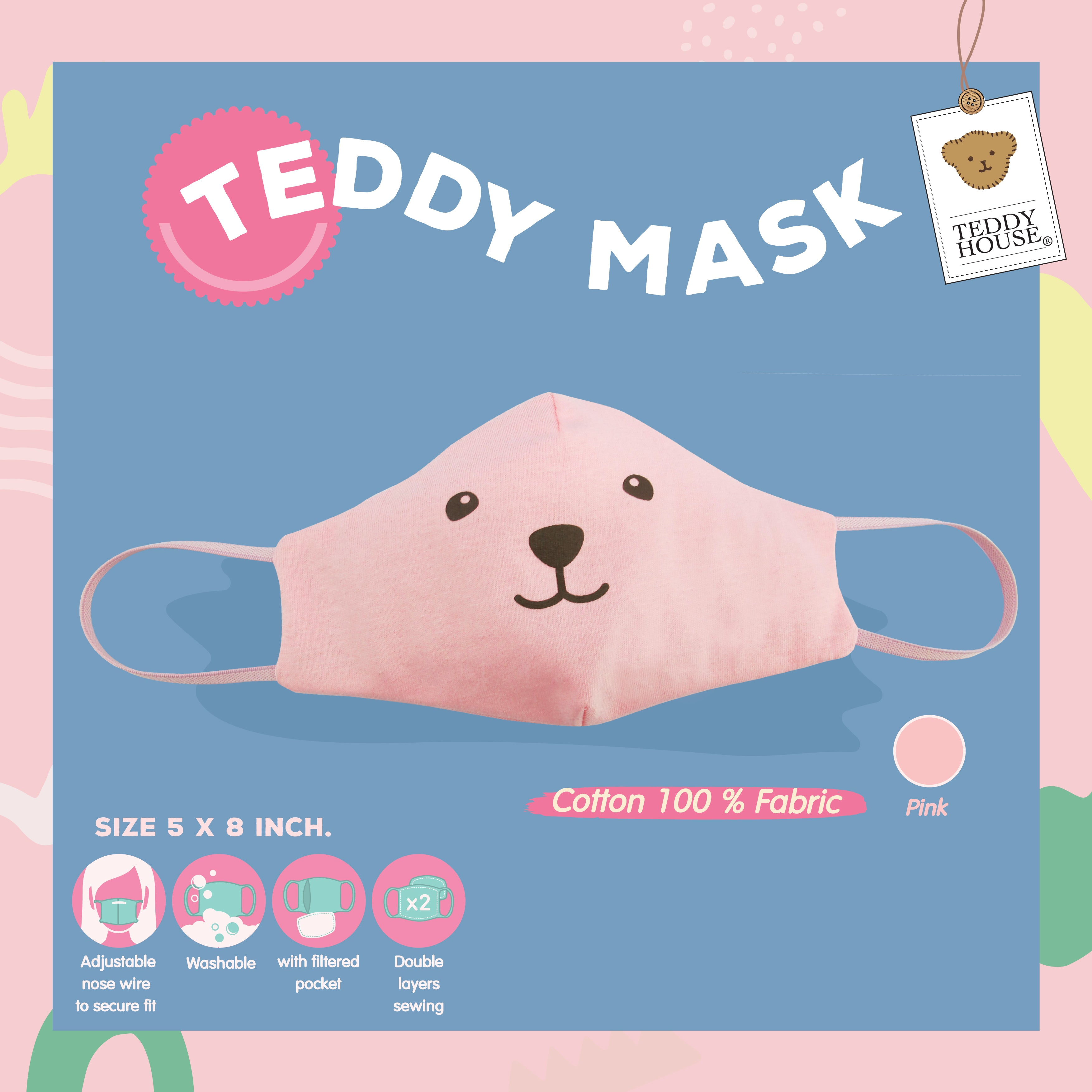 FABRIC MASK - SMILING COTTON FOR ADULT/KIDS PINK