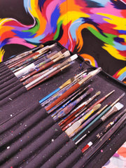 Selection of artist brushes belonging to Colourful artist Anna Hughes, Anya's Studio
