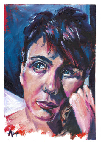 Moody thoughtful oil painting portrait using water mixable oils by Anna Hughes Anya's studio