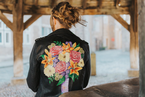 Hand painted leather wedding jacket by Anya's Studio