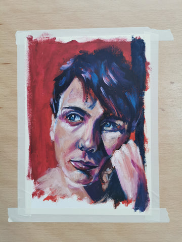 Oil painting portrait, moody painting in oils by Anna Hughes Anya's studio