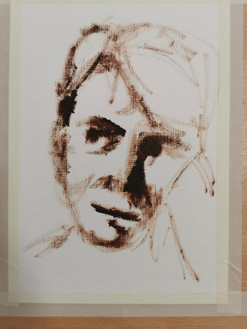 Portrait painting outline in oil paints, work in progress, Anna Hughes, Anya's Studio