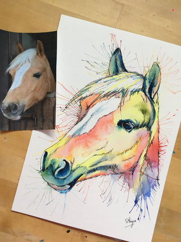 Watercolour horse painting by Anya's Studio