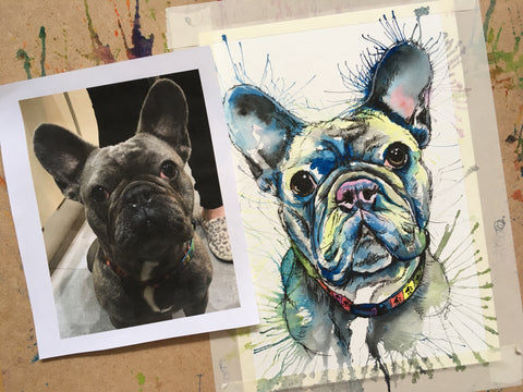 Watercolour painting of a french bulldog by Anya's Studio
