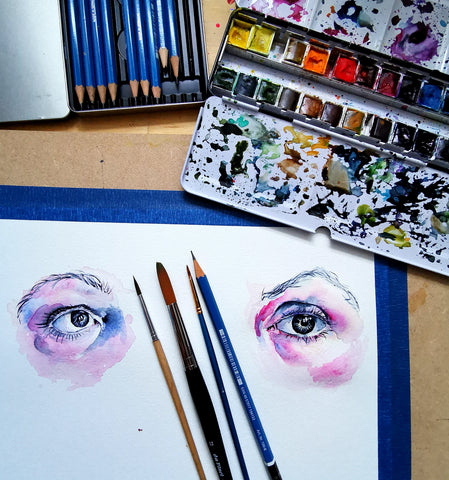 Watercolour eye paintings by Anna Hughes, Anya's Studio