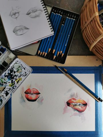 Lip drawings and watercolour paintings, kiss and biting lip, by Anna Hughes, Anya's Studio