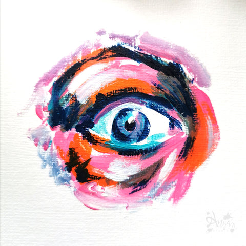 Surprised wide eye painting in acrylic paint by Anna Hughes Anya's Studio