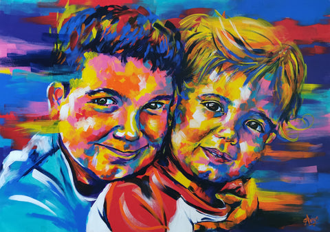 Childs portraits in colourful acrylics by Anna Hughes Anya's Studio