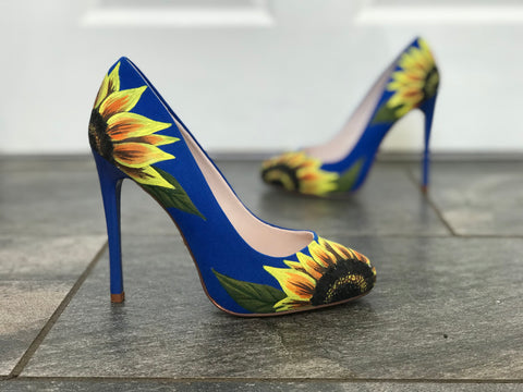 Hand painted sunflower shoes by Anya's Studio