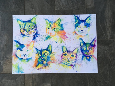 cat pet portrait watercolours
