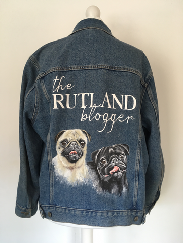 Hand painted pet portrait pug jacket by Anya's Studio