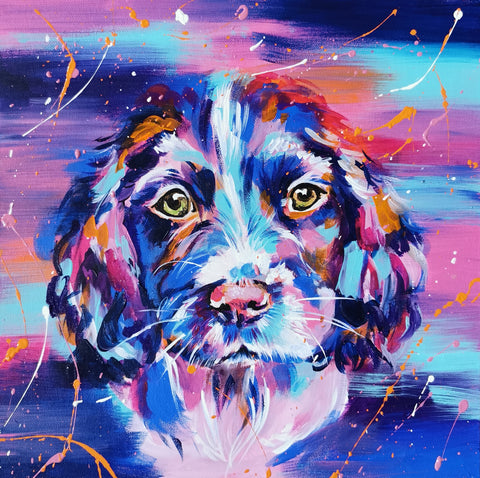 Colourful acrylic puppy painting, springer spaniel art