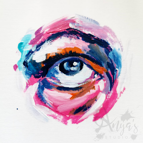 Eye roll acrylic painting, by Anna Hughes, Anya's Studio