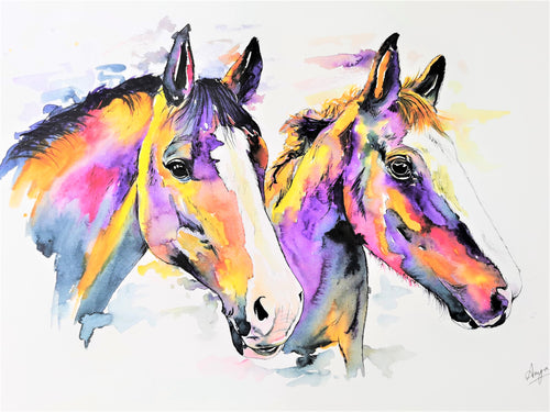 Double Watercolour Pet Portrait