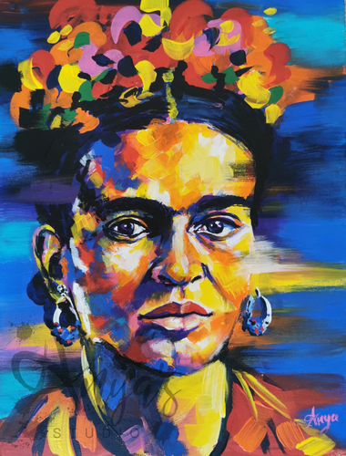 Frida Kahlo painting in colourful acrylics, Frida Kahlo print