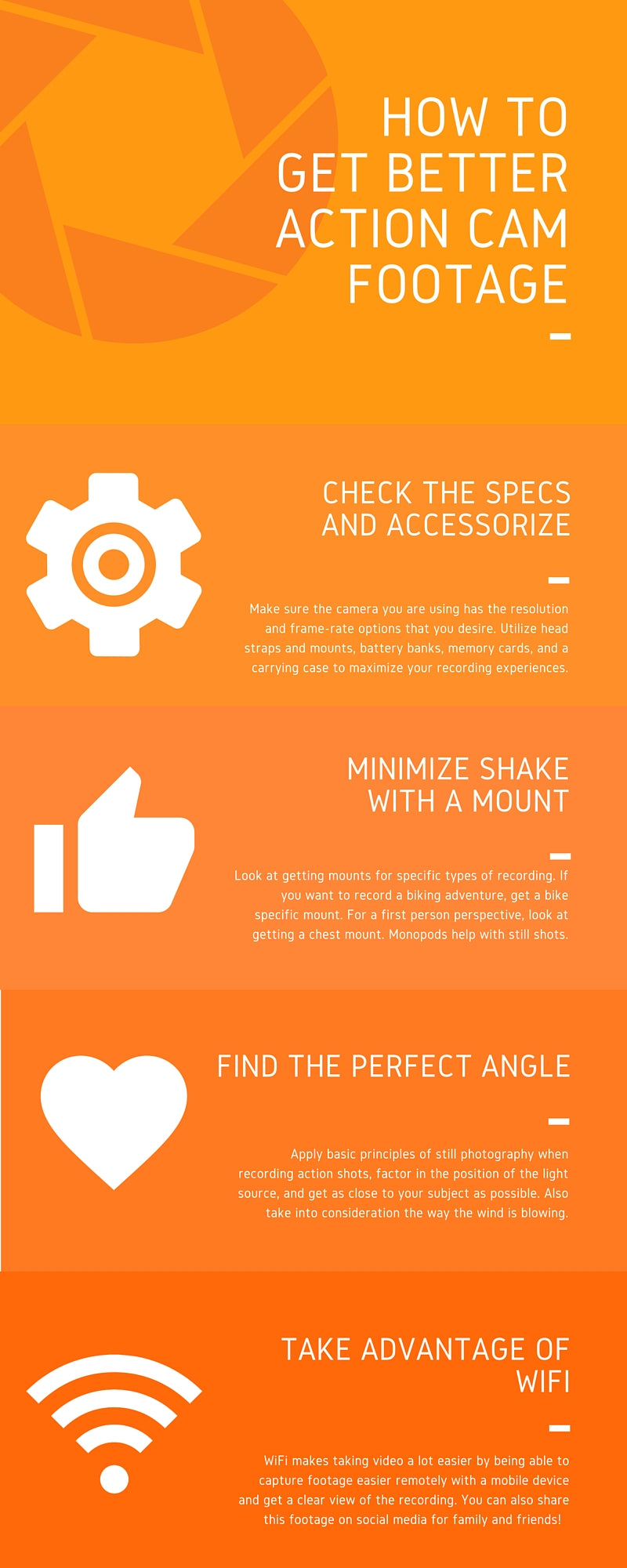 How to get better action cam footage infographic