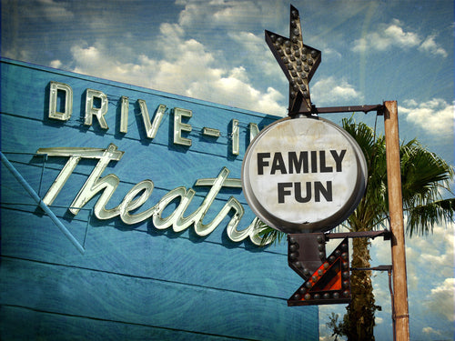 drive in theatre family fun vintage signs