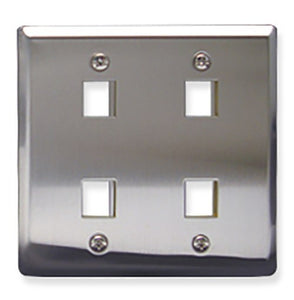 ICC IC107DF4SS Classic Stainless Steel Faceplate with 4 Ports for EZ®/HD Style in Double Gang
