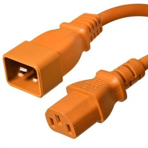 C20 to C13 Power Cord – 15A, 250V, 14/3 SJT, Orange
