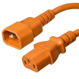 C14 to C13 Power Cord – 10A, 250V, 18/3 SJT, Orange