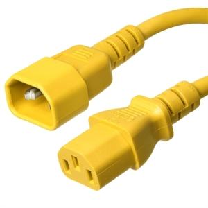 C14 to C13 Power Cord – 15A, 250V, 14/3 SJT, Yellow