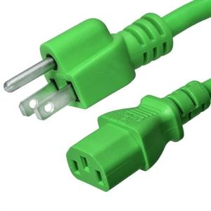 5-15P to C13 Power Cord –15A, 125V, 14/3 SJT, Green