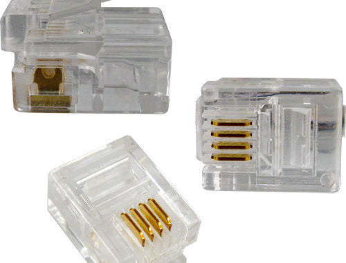 Vertical Cable RJ11 Modular Plug | For Round Solid/Stranded CAT3 Telephone Cable (4C) - 100 pack