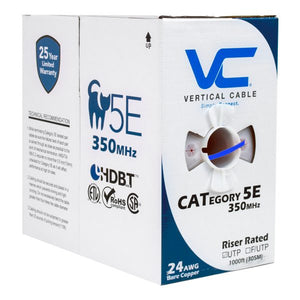 Vertical Cable 1000ft Stranded Cat5E Cable - 24AWG 350MHz CM-Rated Bare Copper