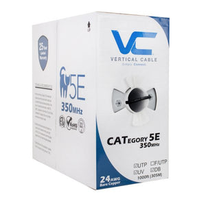 Vertical Cable 1000ft Solid Direct Burial Cat5E Cable - 24AWG 350MHz Gel Flooded Core