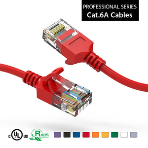 Cat6A Slim Ethernet Patch Cable, Snagless Boot, Red Alternate 1