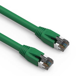 Cat8 S/FTP Shielded Ethernet Patch Cable, Snagless Boot, Green (0.5-50ft)