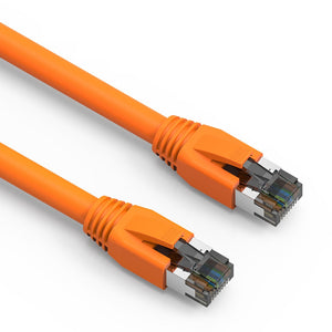 Cat8 S/FTP Shielded Ethernet Patch Cable, Snagless Boot, Orange (0.5-50ft)