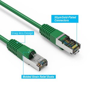 Cat6 Shielded Ethernet Patch Cable, Snagless Boot, Green Alternate 2