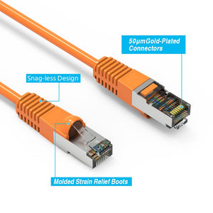 Cat6 Shielded Ethernet Patch Cable, Snagless Boot, Orange Alternate 2